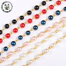 necklace making chains images 6mm handmade round glass pearl beads golden chains for necklace jpg