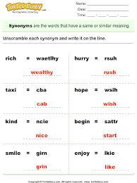 unscramble synonyms of words worksheet turtle diary