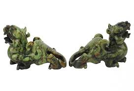 choo foo dogs green brown jade foo dogs pair jade foo dog