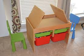 Craft Desk With Storage Kids Craft Tables With Storage And Wood Down Folding System And