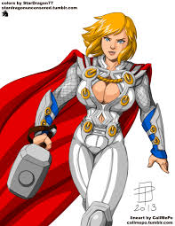 coloring commission callmepo powergirl as thor by stardragon77