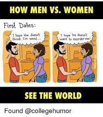 College Humor Meme - how men vs women first dates i hope he doesnt i hope she doesnt o