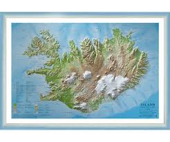 Relief Map Raised Relief Map Of Iceland 1 1 000 000 With Bluewhite Wooden