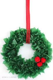 Homemade Christmas Decorations With Paper Kids Christmas Craft Tissue Paper Wreath Tissue Paper Wreaths