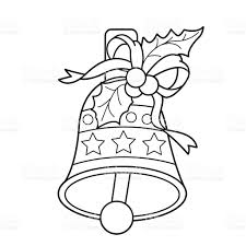 coloring page outline of christmas bell stock vector art 637732648
