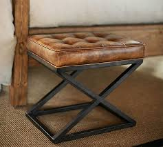 Brown Leather Ottoman Kirkham Tufted Leather X Base Stool Pottery Barn