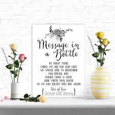 Wedding Message Card A4 Personalised Wedding Message In A Bottle Guest Book Table Sign