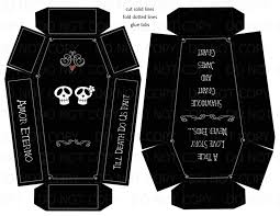 diy favor box template printable printable diy personalized coffin skull theme wedding or