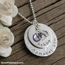 Personalized Hand Stamped Jewelry Personalized Mommy Necklace Hand Stamped Silver Necklace With