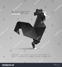 3d realistic black rooster isolated grey stock vector 522852718