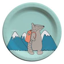 cheeky gray with blue mountain 9 paper plates 30ct