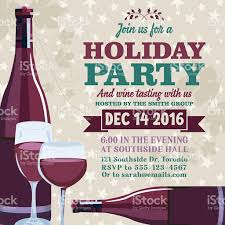 holiday party invitation template with wine tasting stock vector