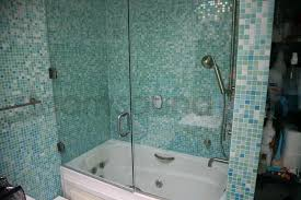 tub frameless steam shower swing door with side panel photo