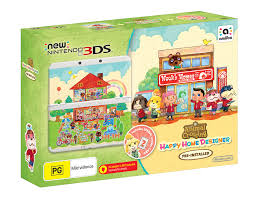 black new nintendo 3ds and animal crossing happy home designer
