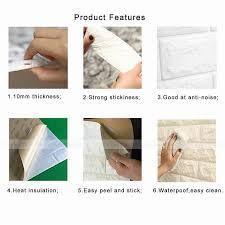 Bedroom Wall Insulation 4pcs White 3d Brick Self Adhesive 10mm Thicken Pe Foam Panels