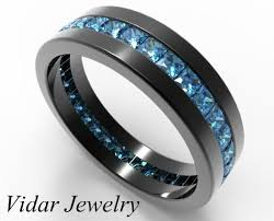 blue diamond wedding rings mens black gold ring his anniversary ring black band for