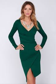 green dress chic forest green dress sleeve dress bodycon dress midi