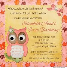 fall owl birthday invitations autumn party leafy colors