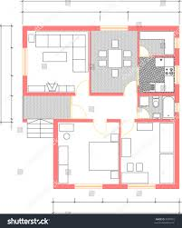 vector draw home plan color all stock vector 8307874 shutterstock