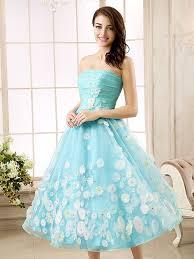 beaded a line strapless flowers tea length prom dress tbdress com