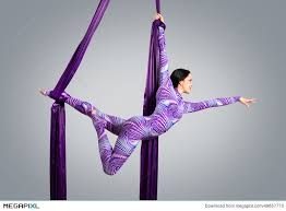fabric ribbons beautiful dancer on aerial silk aerial contortion aerial ribbons