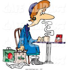 vector cartoon clip art of a exhausted cartoon tired christmas