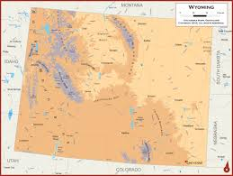 Wy Map Wyoming Physical State Map
