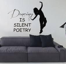 Dance Wall Murals Dance Wall Decals Woman Dancer Quote Dancing Is Silent Poetry