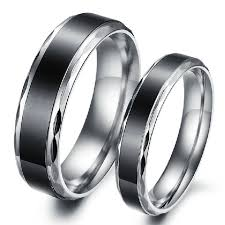 wedding bands for couples black titanium steel promise ring for wedding bands