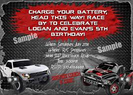 monster truck invitation rc remote control car cars invitation boys girls birthday