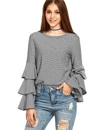 ruffle blouse shein s striped layered bell sleeve ruffle blouse at amazon