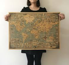 world wonders a pictorial map vintage style retro paper poster