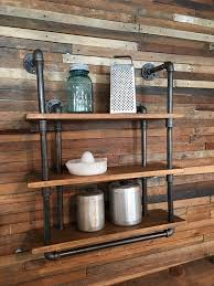 Bar Wall Shelves by 3 Shelf Industrial Gas Pipe Wall Shelf With Towel Bar