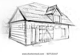 linear architectural sketch wood frame house stock vector