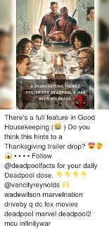 a thanksgiving themed poster for deadp00l 2 has been released