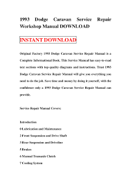 1993 dodge caravan service repair workshop manual download