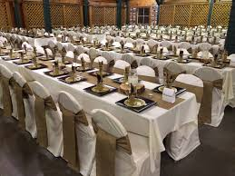 discount linen rentals burlap table runners and chair sashes ivory tablecloths and chair