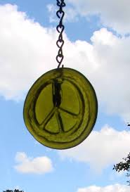 peace sign sun catcher upcycled moss green glass bottle bottom