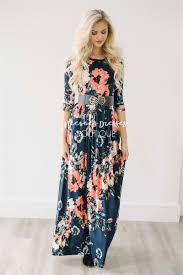 maxi dress with sleeves navy pink floral maxi modest dress best and affordable