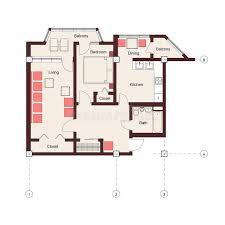 one bedroom apartment plan stock photos image 24092663