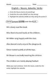 adjectives and nouns worksheet worksheet nouns verbs and adverbs by mignonmiller teaching
