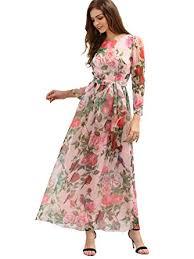 maxi dress floerns women s sleeve chiffon print maxi dress