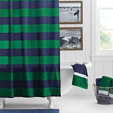 and green rugby stripe shower curtain