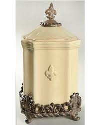 fleur de lis kitchen canisters savings on artimino fleur de lis large canister w metal base