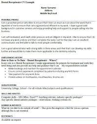 Hobbies And Interests For Resume Example by Dental Receptionist Cv Example Icover Org Uk
