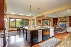 Floor Plan View House With Open Floor Plan Kitchen And Living Room Stock Photo