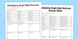 year 6 multiply single digit decimals activity sheet year 6