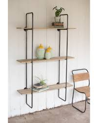 Iron And Wood Bookcase Stylish Metal Frame Shelving Bookcase With 4 Wood Shelves And A