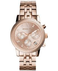 rose tone stainless steel bracelet images Lyst michael kors women 39 s chronograph ritz rose gold tone jpeg