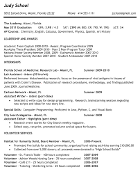 Example Of A College Resume by Sample College Resume High Senior On Format Sample With